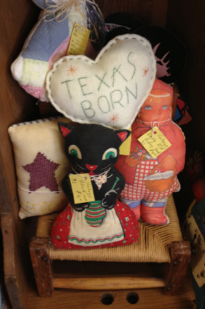 Some Texas Folk Art located in a nearby antique store. I think I'll make the heart for my children.