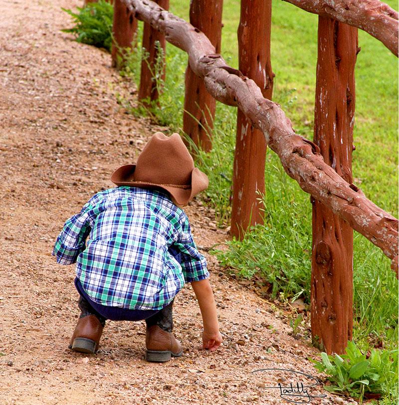 Little Texas Buckaroo on Dirt Path