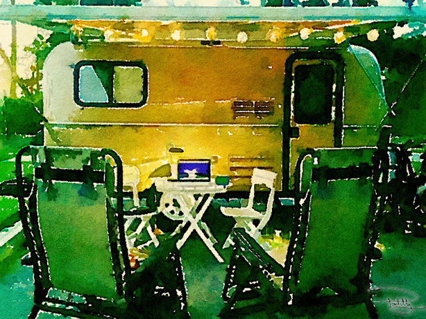 Waterlogue Image of a Casita Travel Trailer