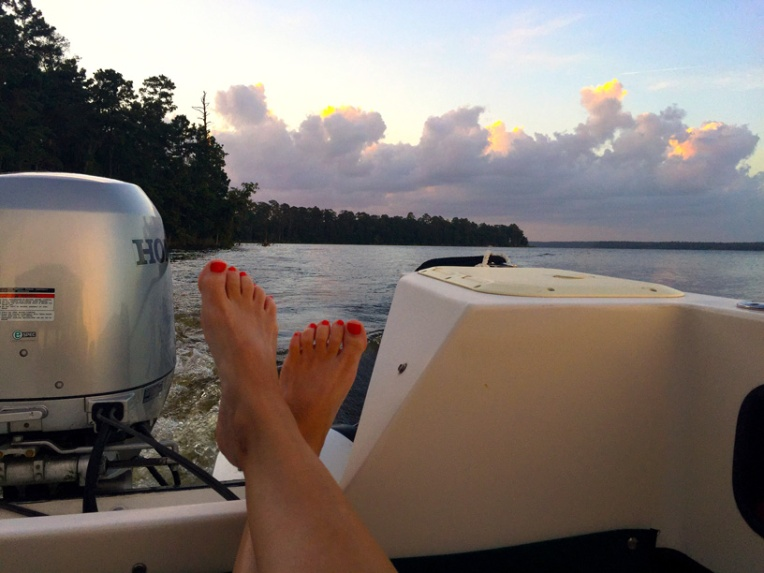 Watching Sunset from C-Dory on Lake Conroe