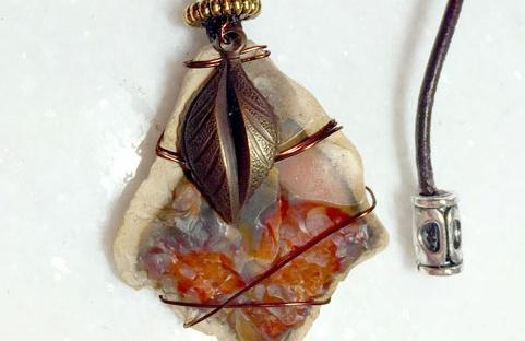 Bastrop Rock Necklace - Mixed Media Art Jewlery