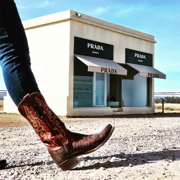 Mrs. Padilly in Lucchese Boots at Prada Marfa