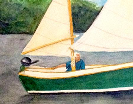 Man Sailing Seabird Watercolor