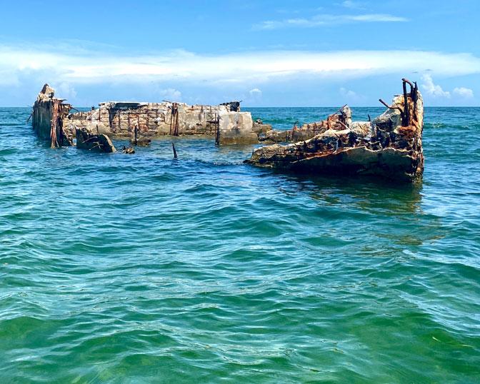 concrete shipwreck off Key Largo